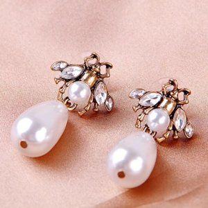 Anthropologie Vintage Insect pearl drop earrings